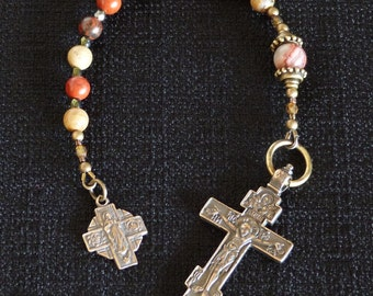 One decade Catholic Rosary, Russian Orthodox Crucifix, Our Lady of Mt Carmel Scapular medal.