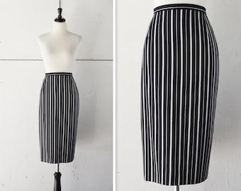 80s high waist pin stripe high waist pencil skirt | womens vintage high waist skirt | vintage pencil skirt