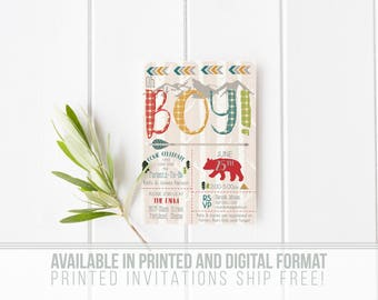 Oh Boy! The Great Outdoors Baby Shower Invitation- Bear- Campout- Forest- Woodland- Camping- Digital Files- Print Yourself