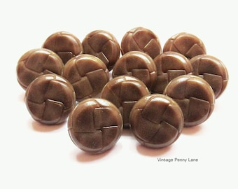 Vintage Brown Plastic, Faux Leather Coat Buttons