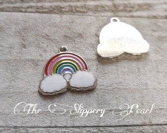 Rainbow Charms Enamel Charms Rainbow Pendants Cloud Charms Weather Charms Rainbow Baby Charm Silver Charms Enameled Charms 5 pieces