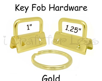 5 Key Fob Hardware with Key Rings Sets - 1 Inch or 1.25 Inch Gold - Plus Instructions - SEE COUPON