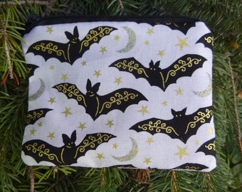 Bats coin purse, stitch marker pouch, gift card pouch, credit card case, Gilded Bats, The Raven