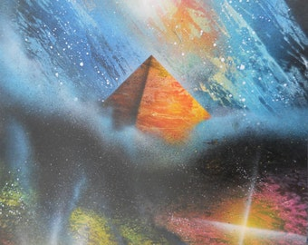 Pyramid in the stars, original spray paint art