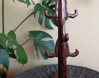 Brown glazed ceramic mug rack/mug tree