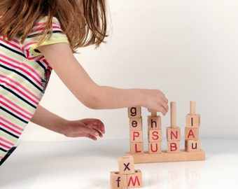 Alphabet Blocks - Wooden Alphabet Blocks - Wooden Toy Stacker -  Montessori Toy - Educational Toy - English Alphabet - Wooden Blocks