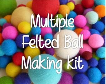 Felt balls - felt balls kit  - choose any colour! - felting kits - tutorial -felted balls - needle felting - wet felting - felting needles -