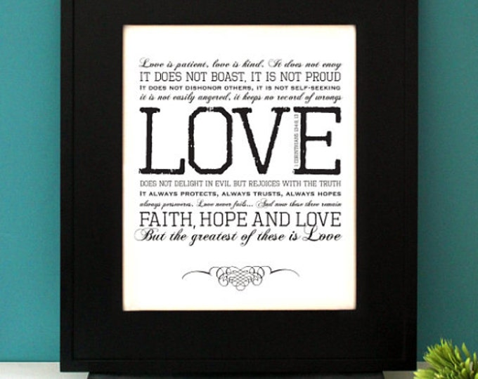 1 Corinthians 13:4-8 LOVE, Custom Initials, gift for Wedding, Inspirational Quote, Love is Patient, Love is Kind, Subway Art. Unframed