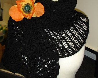 Black shawl with orange flower brooch - ready to ship