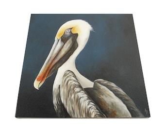 Pelican painting, nautical seaside beach house decor, 18x18 square canvas