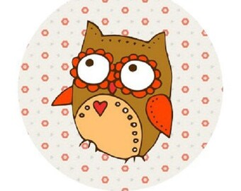 pretty OWL 20mm heart cabochon
