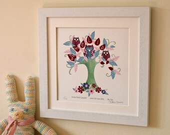 Owl Tree - Children's / kid's / baby's illustrated name art picture, personalised unframed print