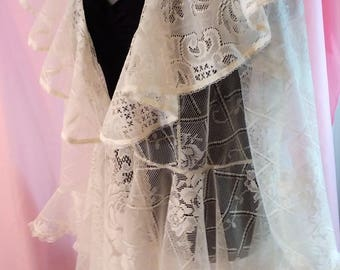 Upcycled Lace Duster Jacket Table Cloth to Couture Recycled Lace Altered Couture Antique White –XL JAKT2-02