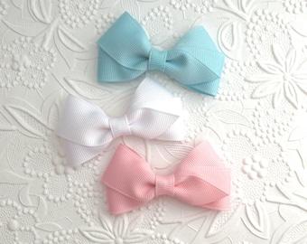 Baby Hair Bows, Toddler Hair Bows, Hair Bow Set, Pastel Hair Bow Clips,  Girls Hair Bows, Toddler Hair Clips, Hair Bow Clippies