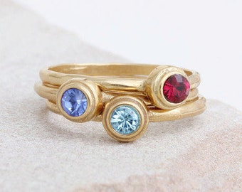 Stacking Gold Birthstone Rings. Set of 3 Mother's Stackable Rings in Gold Vermeil, Gold Stackable Ring Set with Birthstones. Gift for Mom!