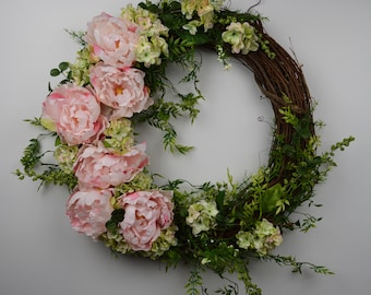 Pink Peony Floral Wreath