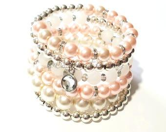 Silver, Pink, White, Wrap Bracelet, Beaded Bracelet Stretchy, Memory Wire, Coil, Bridal, Womens Custom Handmade Beaded  Jewelry