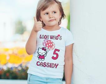 hello kitty  Birthday  girls Kids personalised T-Shirt, Childrens Toddlers T Shirt Top.