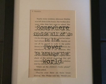 "Matilda ""....power to change the world"" book quote wall art."