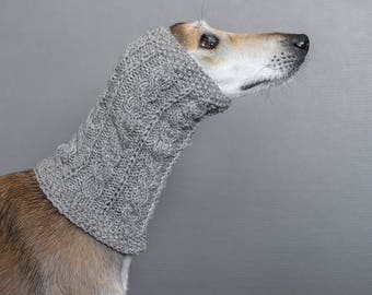 Grey dog snood // ready to ship // for saluki, afghan hound or similar // hand-knit 100% wool dog snood // tight sighthound snood //