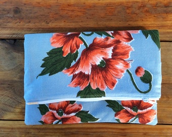 Fold over clutch, party clutch, clutch, large clutch, floral clutch, vintage fabric, floral vintage fabric, foldover clutch, clutch bag