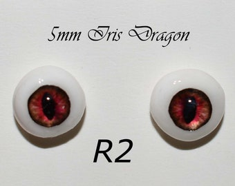 Hand Made Dragon Eyes 8mm - Dark Red R2 - Fantasy - Character - Creature - Reptile OOAK
