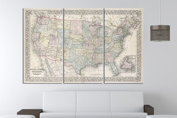 LARGE 3 panels / boards wrapped stretched old retro map united states of america with state names USA canvas wall art ,Giclee Art fine art