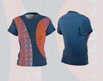 Sun Moon Blue and Orange Top, Dressy Women's T-Shirt Celestial Theme Clothing, Faux Graphic Denim Pattern and Orange Tee