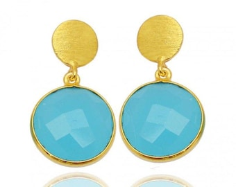 Chalcedony Blue Sterling Silver Gold plated earrings
