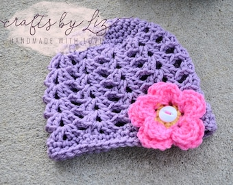 RTS // INFANT SIZE  - Beanie with Flowers, Baby Hat with Flowers, Infant Beanie, Shell Beanie with Flowers, Baby Girls Hat, Purple Hat,