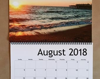 2018 Beach 12 Month Wall Calendar, Dorm Decor, Office Decor, Nags Head NC, California, Landscape Photo Art