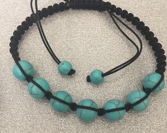 Turquoise blue thread for macrame cord bracelet
