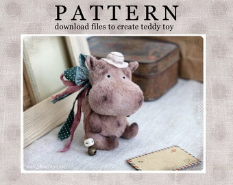 PATTERN Download to create Teddy like Hippo 13,5 cm /5,3 inches