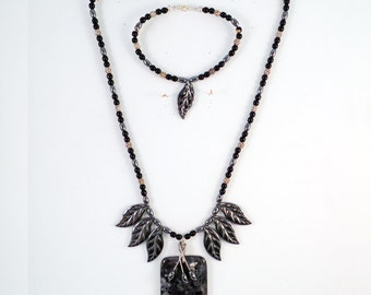 Larvikite Pendant and Hematite Leaves Necklace and Bracelet-JS015