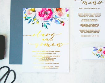 Floral print wedding invitation, Flower wedding invite, Watercolour wedding invitation, Gold foil wedding invitation