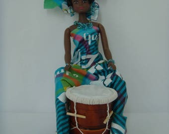 Contact me before order, not in STOCK / Caribbean blue madras drum player doll