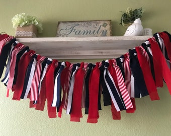 Red white and navy blue party decorations  birthday decorations Nursery decor Photo prop Rag Garland Banner Highchair Banner