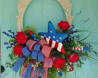 Americana Door Hanger, Patriotic Door Hanger, Patriotic Wreath, Summer Door Hanger, 4th of July Door Hanger, 4th of July Wreath