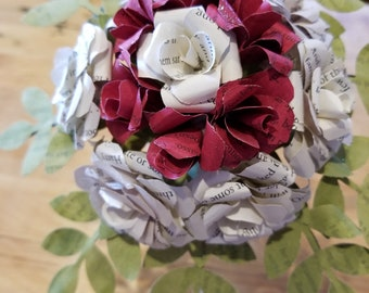 Harry Potter book page paper flower Bouquet - Gryffindor