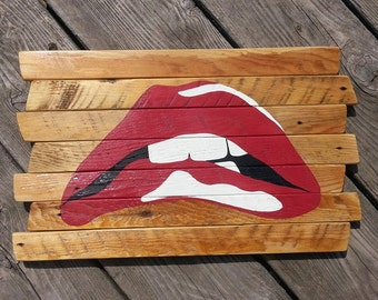 Rocky Horror Picture Show lips painted reclaimed wood