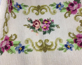 Tapestry needlepoint in wool non framed for bag or cushion quilting applique flowers finished item textile art