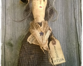 Primitive Broom Hilda Witch ~ Fall Doll ~ Halloween Doll Decoration