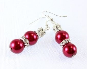 Red Pearl and Swarovski Crystal Earrings, Bridesmaid Earrings, Prom Earrings