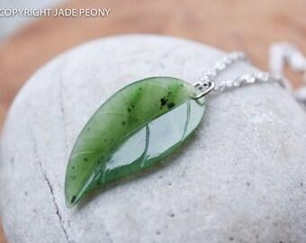 Jade Leaf Necklace - Nephrite Jade - Sterling Silver