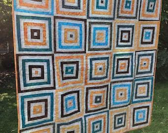 Lap Quilt/ Colourful Batik Quilt/ Geometric Quilt/ Summer Quilt