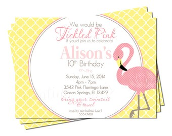 "Flamingo Tickled Pink Invitation | Printable 5"" x 7"" 