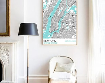 New York City Map Print, Custom Map Print, City Map, Large Poster, Wall Art, Street Map, Travel Poster, New York City Map Poster