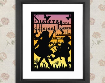 Sisters 'Paper cut' style print