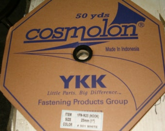 """YKK Brand HOOK ONLY 1"""" white sew-on hook tape hook and loop tape"""