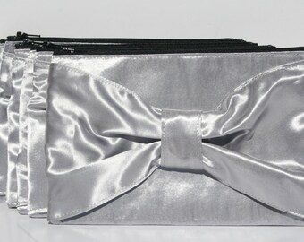 Silver Bow Clutch Satin Formal Evening Bridesmaids Clutches Zipper Metallic New Years